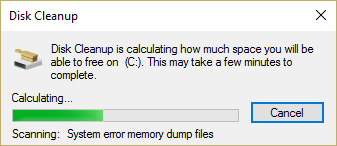 disk cleanup calculating how much space it will be able to free