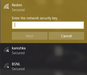 enter the password for the wireless network