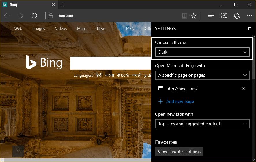 from Microsoft edge settings choose dark under choose a theme