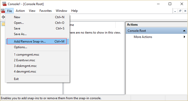 In MMC console click file then Add Remove Snap-in
