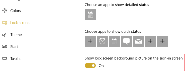make sure Show lock screen background picture on the sign-in screen toggle is ON