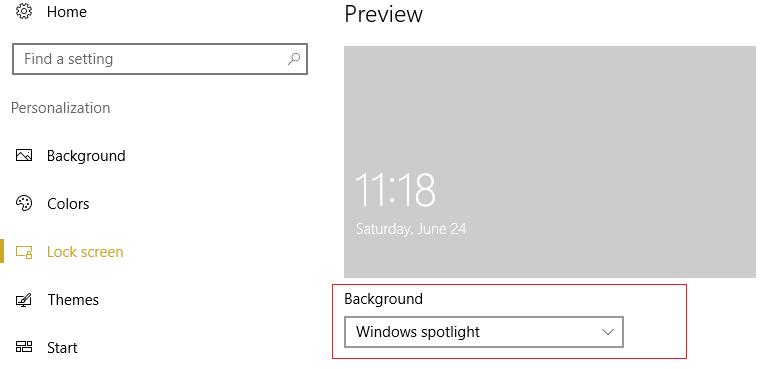 make sure Windows spotlight is selected under Background