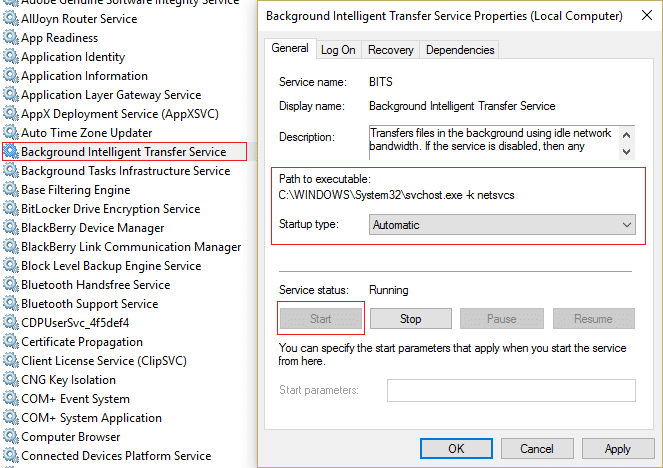 make sure theirStartup type is set to Automatic.