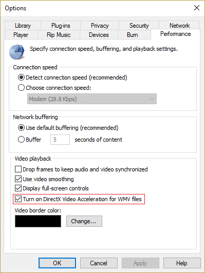 make sure to check mark Turn on DirectX Video Acceleration for WMV files