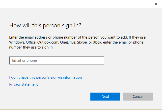 provide a name for the user and a password