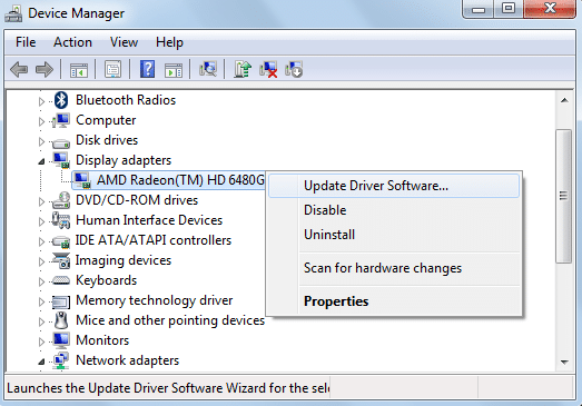 right click on AMD Radeon graphic card and select Update Driver Software