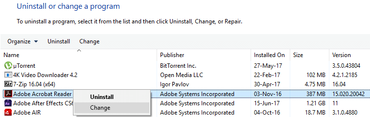right-click on Adobe Acrobat Reader and select Change