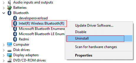 right-click on Bluetooth and select uninstall