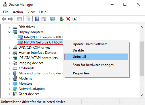right click on NVIDIA graphic card and select uninstall