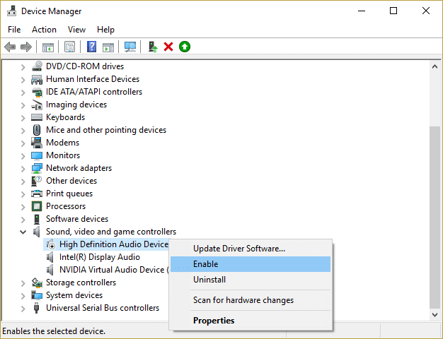 right click on high definition audio device and select enable