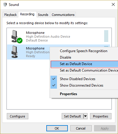 right-click on your microphone and click on set as Default Device
