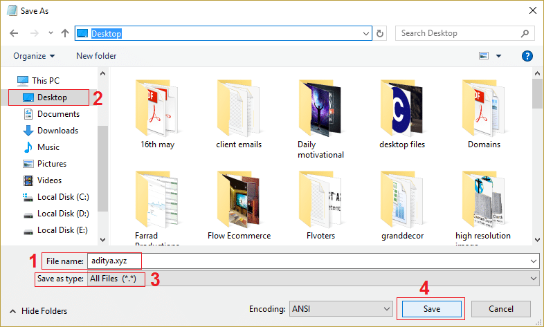 save the notepad file with extension .xyz and select all files in save as type