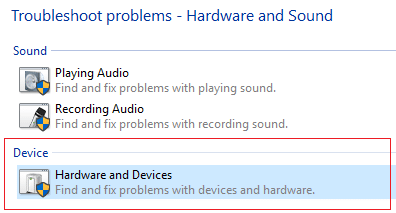 select Hardware and Devices troubleshooter