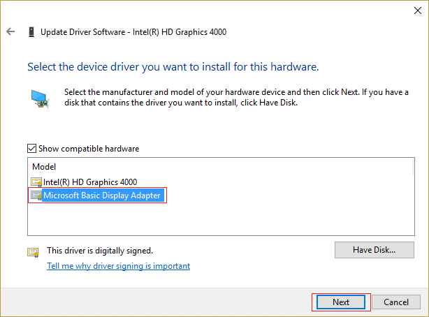 select Microsoft Basic Display Adapter and then click Next