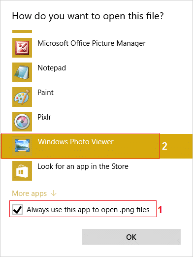 select the app with which you want to open the file