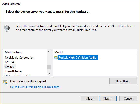 select your sound card manufacturer from the list and then select the model