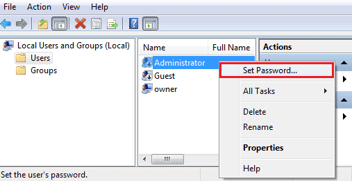 set Administrator password in mmc