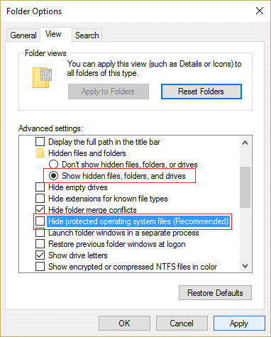 show hidden files and operating system files