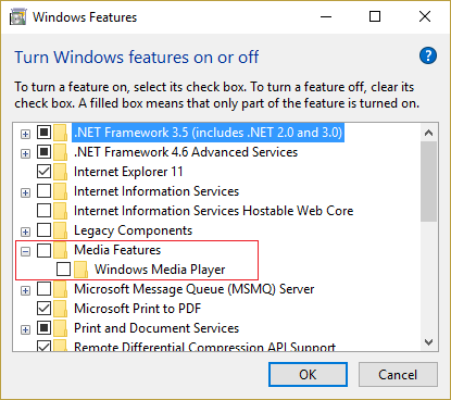uncheck Windows Media Player under Media Features