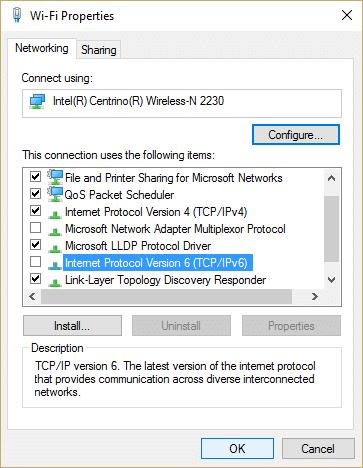 uncheck Internet Protocol Version 6 (TCP IPv6)