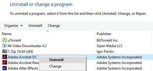Uninstall Adobe Acrobat Reader   Fix File is Damaged and Could Not Be Repaired
