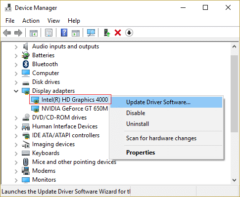 update Integrated Graphic Card Drivers