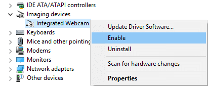 Again right-click and select Enable