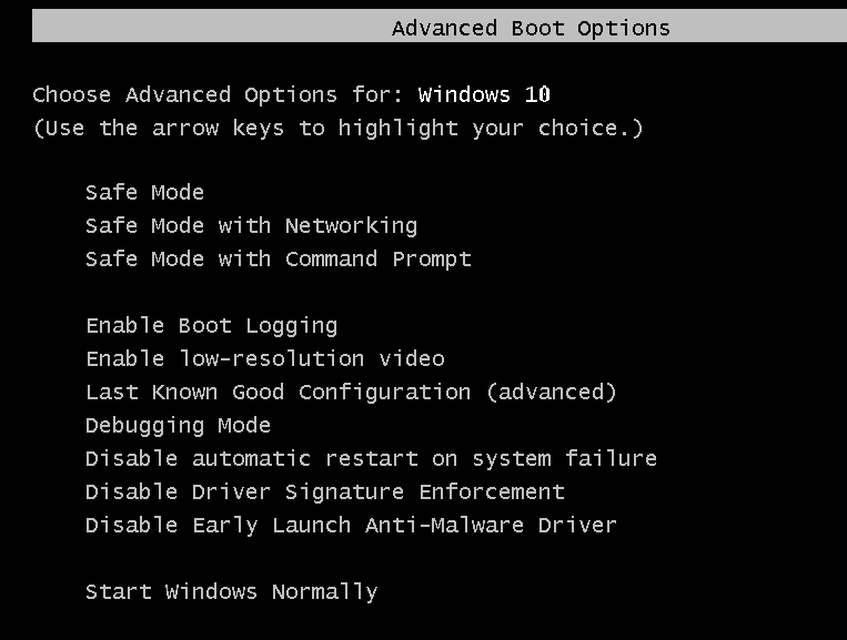 Boot into Last Known Good Configuration