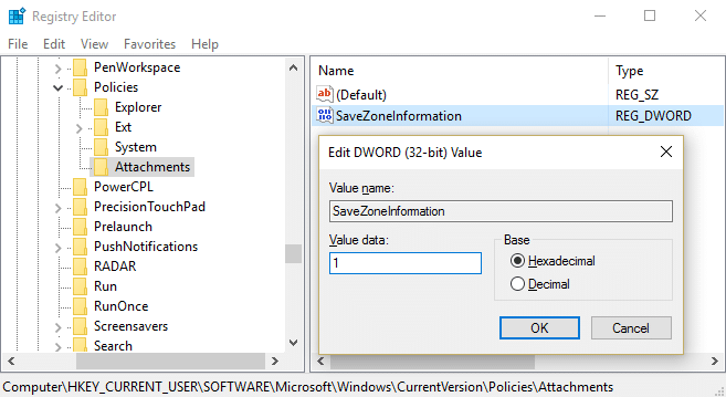 Change the value of SaveZoneInformation to 1