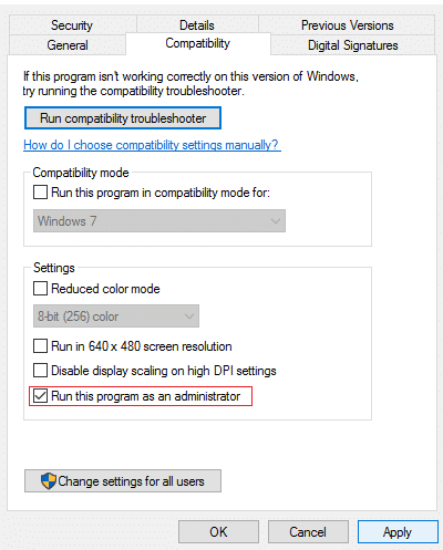Check mark Run this program as an administrator and click Apply how to fix Hamachi Tunnel Problem Windows 10