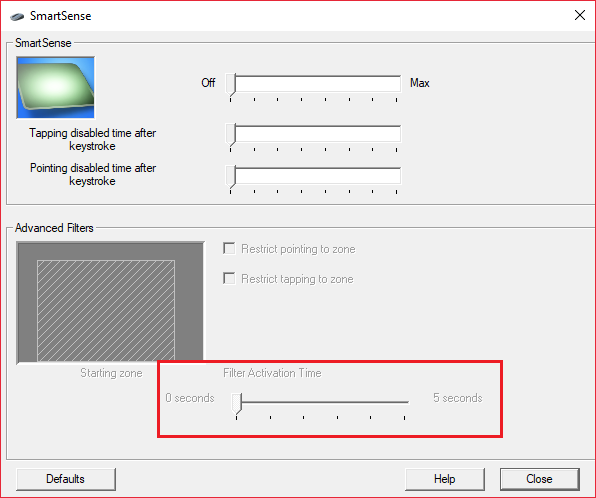 Click Advanced and set the Filter Activation Time slider to 0