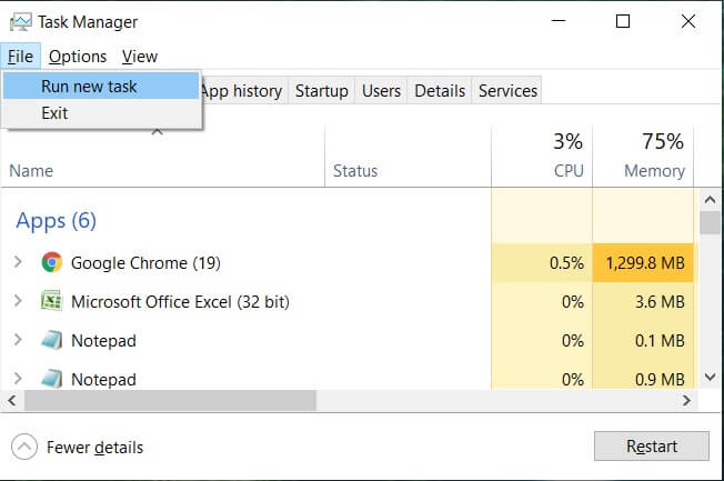 Click File and select Run new task