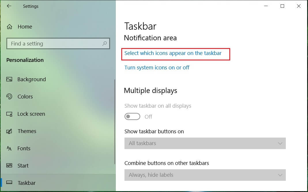 Click Select which icons appear on the taskbar