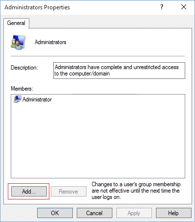 Click on Add in the bottom of the Administrators Properties window | This file does not have a program associated with it for performing this action [SOLVED]