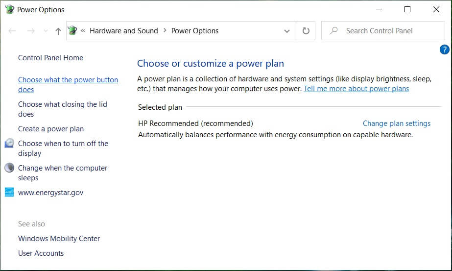 Click on Choose what the power buttons do in the top-left column | Fix Device Descriptor Request Failed (Unkown USB Device)