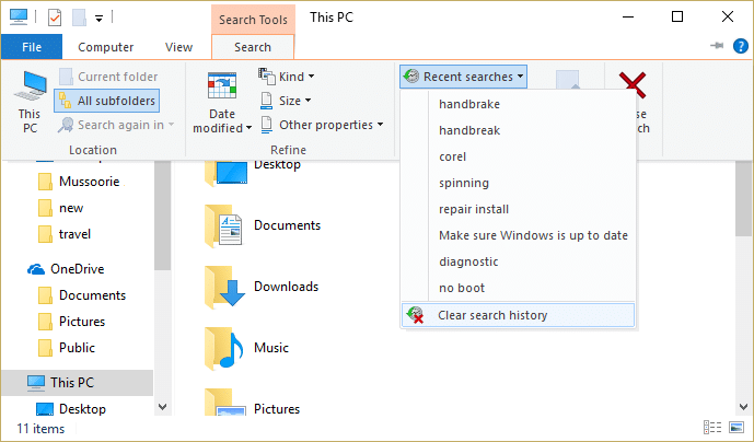 Click recent searches then click Clear search history from the list of dropdown   How to Delete File Explorer Search History