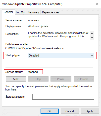 Click stop and make sure Startup type of Windows Update service is Disable