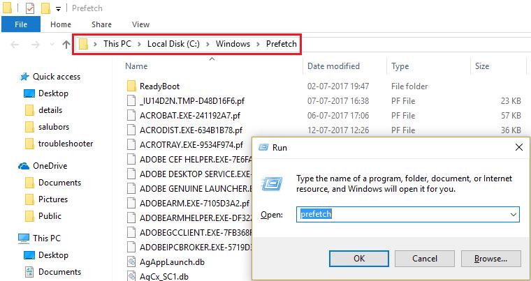 Delete Temporary files in Prefetch folder under Windows