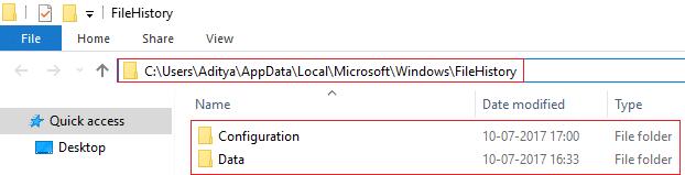 Delete contents of Configuration and Data Folder under FileHistory Folder