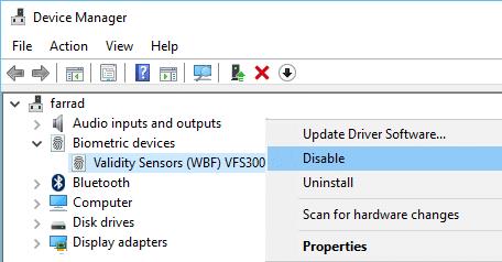 Disable Validity Sensor under Biometric Devices