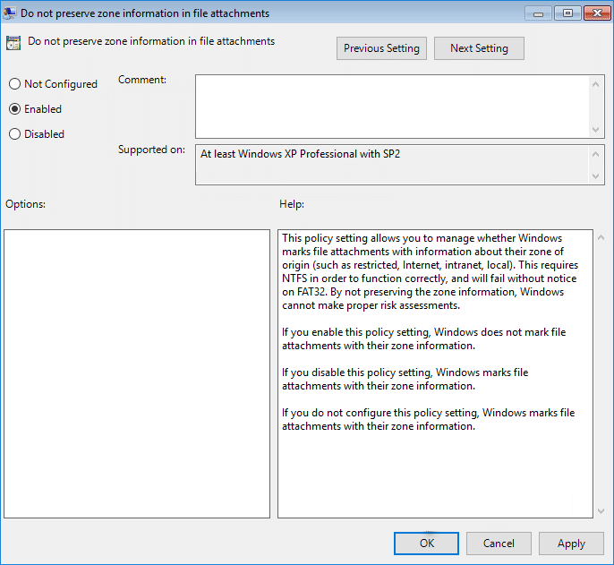 Enable Do not preserve zone information in file attachments policy