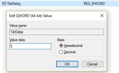 Enter 8 as a value in TdrDelay key for 64 bit key