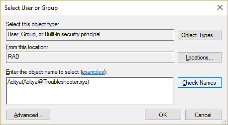 Enter the object names field type your username and click Check Names