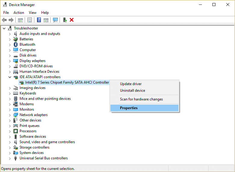 Expand IDE ATA/ATAPI controllers & right click on the controller with SATA AHCI name in it