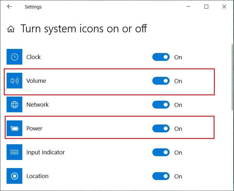 Find the icons for Power or Volume and make sure both are set to On