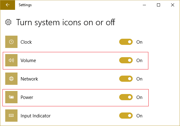 Find the icons for Power or Volume, and make sure both are set to On