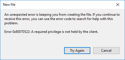 How to fix 'A Required Privilege Is Not Held By The Client' Error