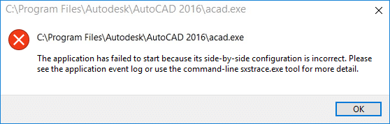 The application has failed to start because the side-by-side configuration is incorrect error