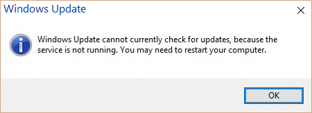 Fix Windows Update cannot currently check for updates