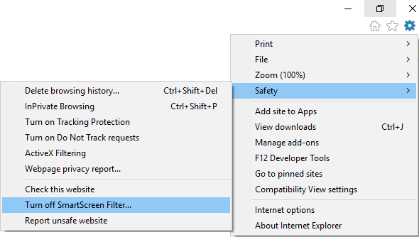 From Internet Explorer settings go to Safety then click Turn off SmartScreen Filter